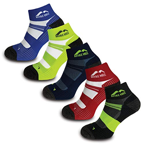 More Mile Endurance Cushioned Running Socks 5 Pair Pack Anti Blister Compression Arch Brace Sports Socks Lightweight Long Lasting Colour Pack 85 105