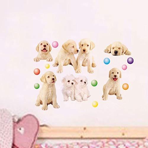 Cartoon Hond Muurstickers Kinderkamer Kwekerij Vroeg Leren Centrum Huisdier Winkel Puppy Ballon Muurstickers