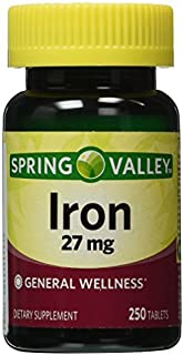Spring Valley - Iron 27 mg, 250 Tablets by Spring Valley