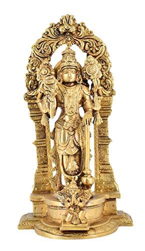 Estatua blanca de latón Lord Bhagwan Vishnu Narayan ídolo Murti con Garuda para decoración del hogar, marco tallado con Kirůka