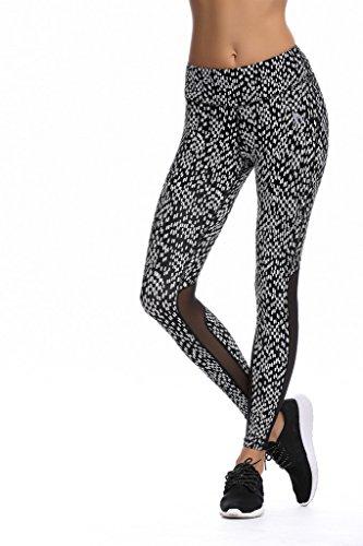 JIMMY DESIGN Damen Fitness Legging - Weiß Punkt - M