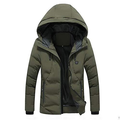 Heren jas met capuchon, elektrische verwarming, elektrisch verwarmd vest wasbaar verwarmd vest voor mannen, herfst en winter buitenshuis, casual smart warme tops