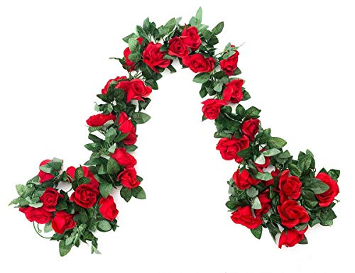 SWSTINLING 2 Pack (16FT) Artificial Rose Vine Flowers Plants Fake Flower Vine for Wedding Home Party Garden Craft Art Decor Red