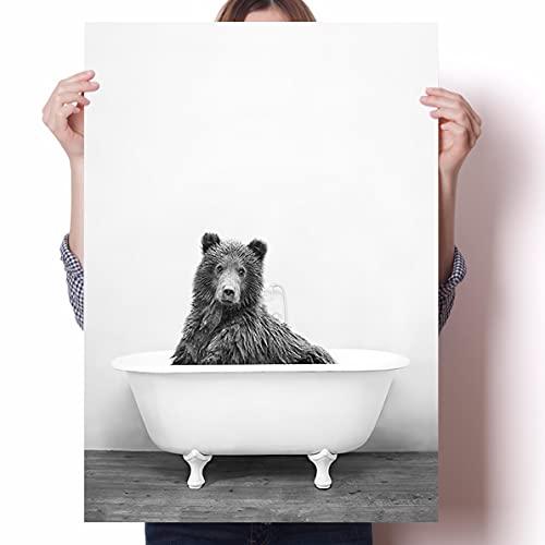 LGYJAL Pintura de decoración de bañera de baño Póster de bañera de Animal nórdico León Tigre Panda Jirafa para decoración Infantil 50x70 cm (19,68x27,55 in)