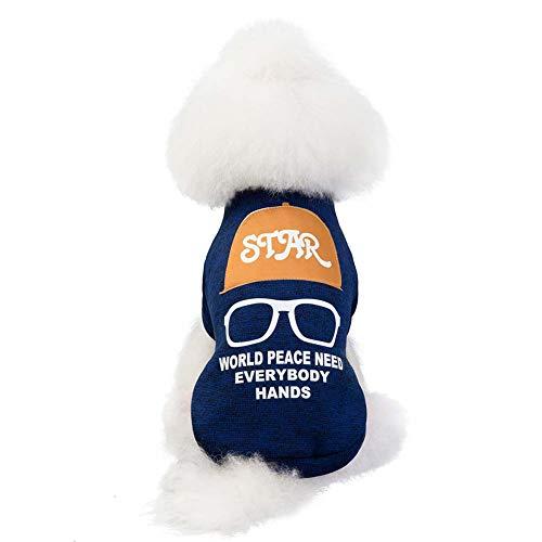 KSITH kleding voor huisdieren, honden, truien, warm, teddybeer, herfst en winter, XL, Blauw