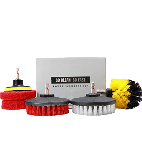 Power Scrubber Set: Drill Brush & Scrub Pad – Clean Hard Water & Soap Scum 5X Faster – for Tile,...