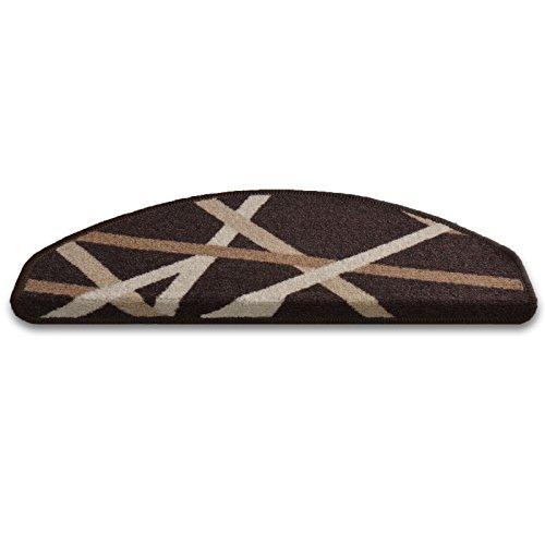 Stufenmatten Budget | dunkelbraun | mit Retro Streifenmuster | 15er Sparset