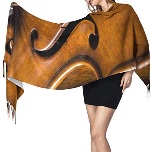 """27""""x77 Bufanda colorida Violín viejo acostado en la partitura de música Hombres Bufandas Bufanda de color para mujer Elegante manta cálida grande"""