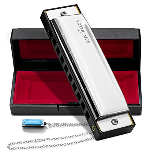 ARTHOMES Harmonica, Blues Harmonica Key of C 10 Holes 20 Tones with Mini Harmonica Necklace and Cleaning Cloth for Professional Player Beginner Students Children Kids Entry-level