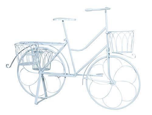 Biscottini Bicicletta portafiori in Ferro battuto Finitura Bianca Anticata L105XPR53XH75 CM