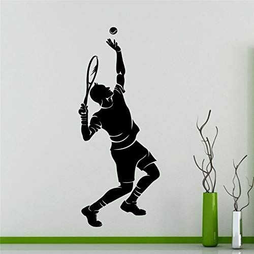 Wopiaol Tennisspeler Silhouet Muursticker Sport Serie man speelse tennis patroon Vinyl Muurschildering sticker Home Woonkamer Decor