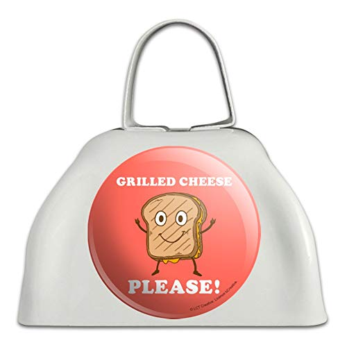 Grilled Cheese Please Sandwich Funny Humor White Metal Cowbell Cow Bell Instrument
