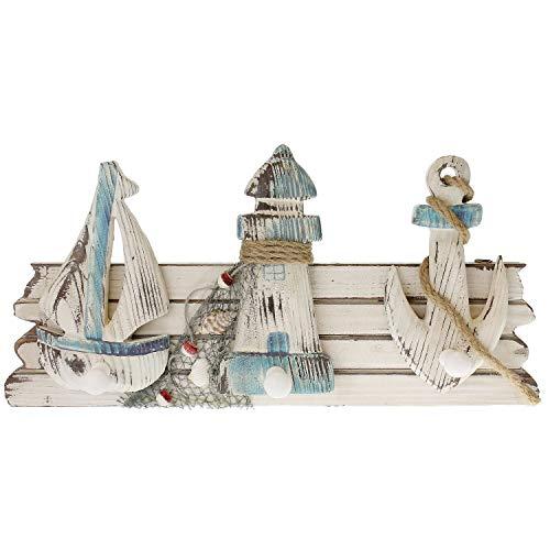 MACOSA BGT06400 Hakenleiste maritim 3 Haken Holz Badezimmer-Haken Bademantelhaken Handtuchhaken Dekohaken Schiff Anker Leuchtturm Weiß Blau