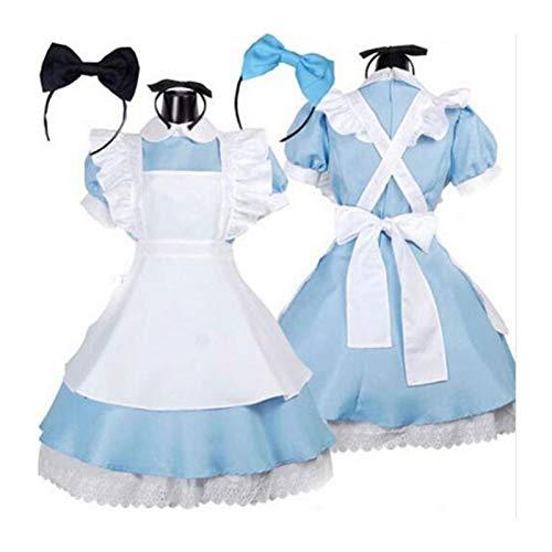 Bfrdollf Traje de Doncella de Anime Halloween Mujeres Adult Anime Alice Aventura Azul Vestido de Fiesta Alice Dream Women Sissy Maid Lolita Cosplay Disfraz (Color : Black Hairpin, Size : Large)
