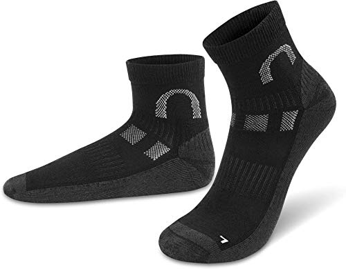 normani 2 Paar Merino Socken für Damen & Herren - Kurzschaft, Low Cut - Funktionale Freizeit- oder Sportsocken - feinste Merinowolle - für Hiking Outdoor Wandern Trekking Farbe Schwarz Größe 39-42