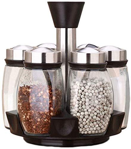Hao-zhuokun 6 stks Set Kruidenrek Spice Rack Revolving Ruimtebesparende Cruet Condiment Potten Transparante kruiden Opslag Container