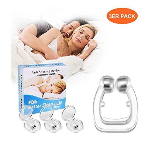 Koiteck Antironquidos Clip Nasal Magnético, Dilatador Nasal para Detener los Ronquidos, Facilitar la Respiración y Dormir Cómodo, 3 Piezas