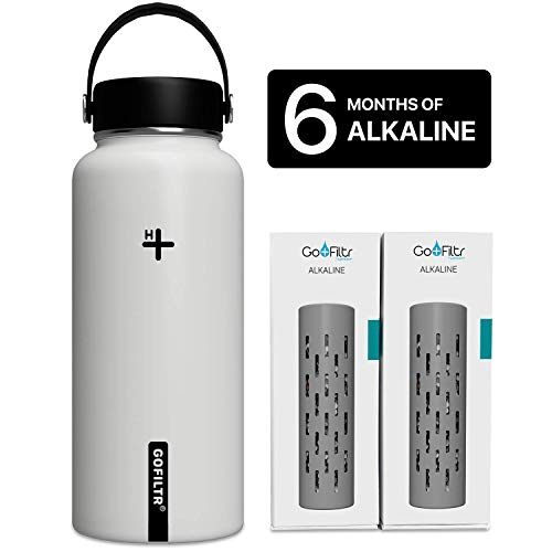GOFILTR Alkaline Water Bottle Hydration Kit | 32 oz (950ml) Vacuum Insulated Stainless Steel Water Bottle | Wide Mouth + Two Alkaline Ionized Mineral Infusers (Cotton)