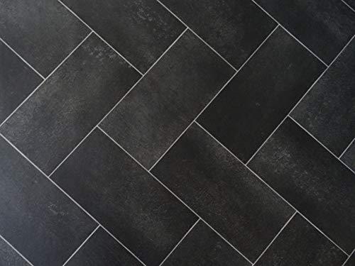 PVC Bodenbelag mit verschachtelten Fliesen, schwarz (9,95€/m²), kleines Muster