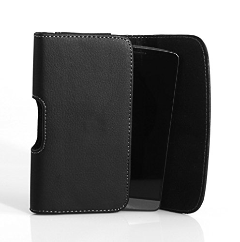 Horizontal Sideways Leather Belt Clip Case Cover Pouch Holster for Motorola Droid Turbo/Fits with Otterbox Commuter & Defender & Reflex
