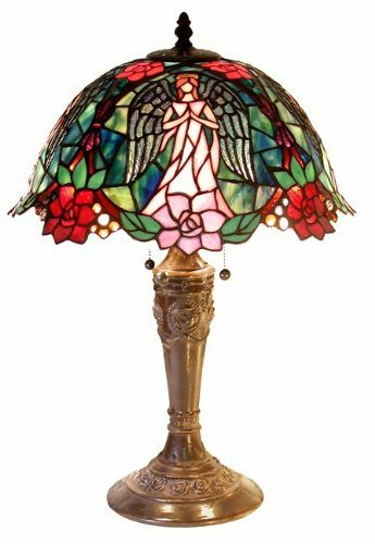 Warehouse of Tiffany 2856+BB656 Angel Table Lamp, Green/Red