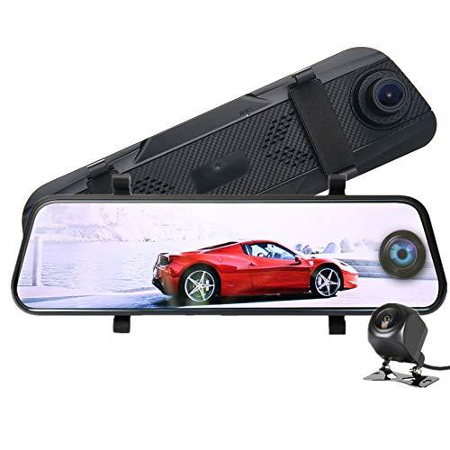 WEUN Cámara De Coche, Espejo Dash, Cammonitor De Aparcamiento, Grabación En Bucle, G Sensor, 1080P Full HD Pantalla Táctil Doble Lente con, Visión Nocturna