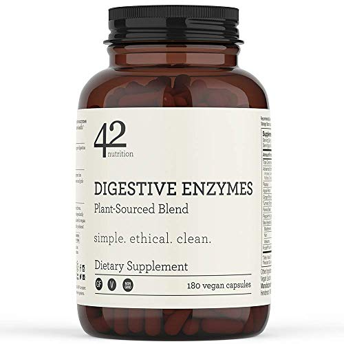 42Nutrition Digestive Enzymes Dietary Supplement - 180 Plant-Based Blend Capsules with Inulin Prebiotics for Healthy Digestion & Nutrient Absorption - Supports Gut and Daily Digestive Health