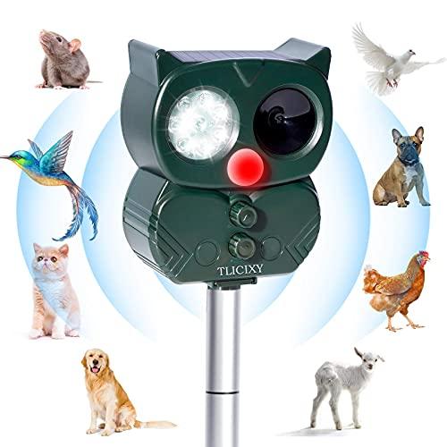 TLICLXY Katzenschreck Ultraschall Solar Abwehr mit LED- Blinken und Schallalarm,Wiederaufladbare Wasserdicht Katzenschreck Tiervertreiber für Garten,5 Einstellbare Frequenz(Grau)