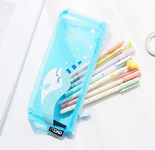Kawaii Pencil Case Transparent Blue Elves Gift Estuches School Pencil Box Pencilcase Pencil Bag School Supplies Stationery 1 Pcs