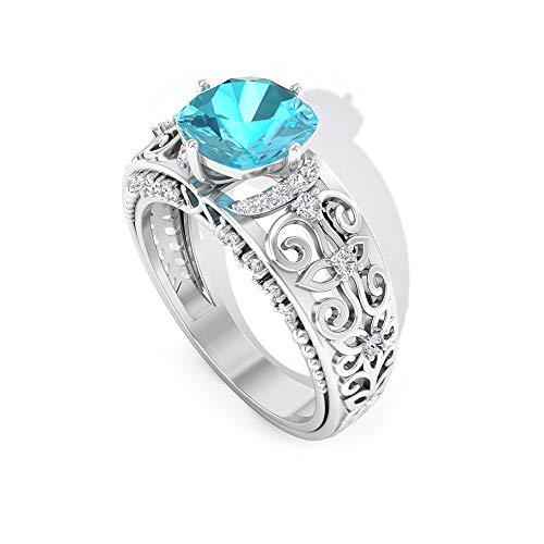 Rosec Jewels 14 quilates oro blanco cojín round-brilliant-shape H-I Blue Diamond Topacio azul - Suizo