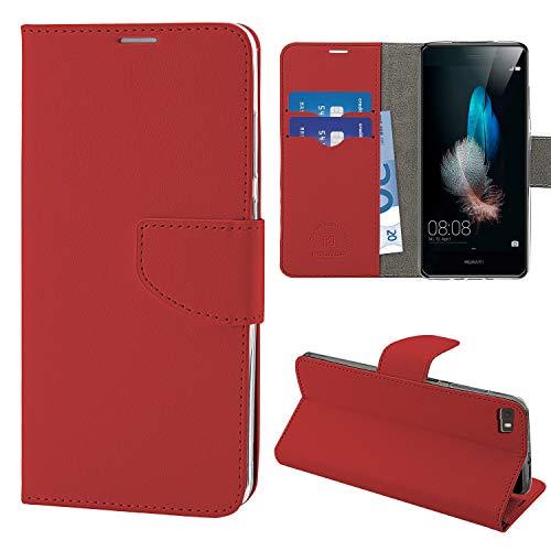 NewTop Cover Compatibile per Huawei P8 Lite/2017/Smart, HQ Lateral Custodia Libro Flip Magnetica Portafoglio Simil Pelle Stand (per P8 Lite, Rosso)