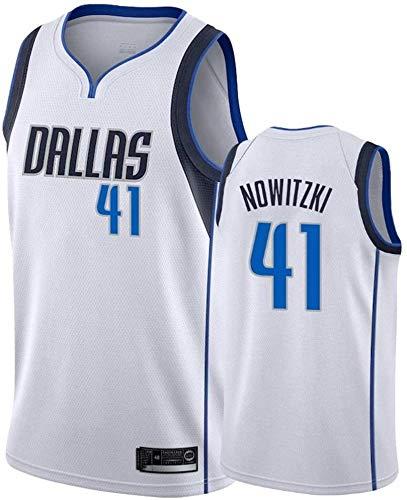 FUYY Herren Trikot - NBA Dallas Mavericks 41# Nowitzki Besticktes Mesh Basketball Swingman Trikot,White-XL