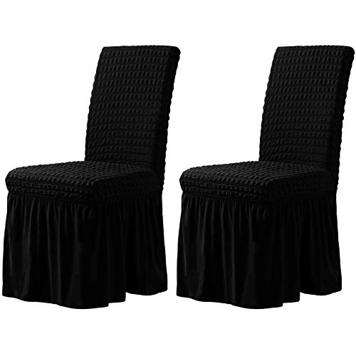 CHUN YI Stretchy Universal Easy Fitted Dining Chair Cover Slipcovers with Skirt, Removable Washable Anti-Dirty Furniture Protector for Kids Pets Home Ceremony Banquet Wedding Party(2,Black)
