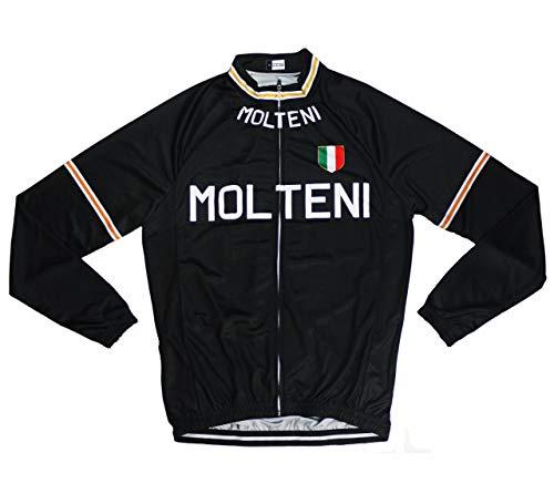 サイクルジャージ レトロデザイン 長袖 裏起毛 No2 イタリア メンズ フリース仕様 自転車 MTB サイクリング ロードバイク ロング (L)