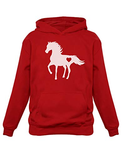 Green Turtle T-Shirts Fan de Chevaux - Horse Lovers Sweatshirt Capuche Enfant 7/8A Rouge