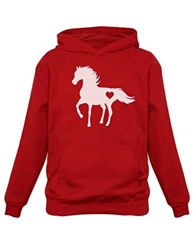 Green Turtle T-Shirts Fan de Chevaux - Horse Lovers Sweatshirt Capuche Enfant 7/8A Rouge