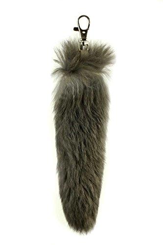 Fellartikel Fuchsschwanz Kanin echt Schlüsselanhänger Anhänger grau