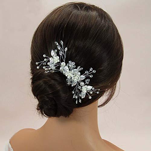 Edary Brautschmuck Hochzeit Blume Haarkamm Silber Kristall Braut Kopfschmuck Perle Haarclips Perlen Haarschmuck für Frauen und Mädchen (Silber 2)