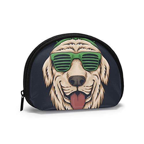 Gafas de Cabeza de Perro Día de San Patricio Mini Billetera Almacenamiento en Forma de Concha Cremallera para Hombres