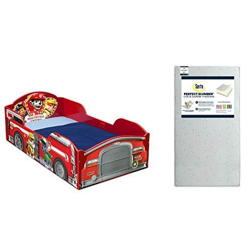 Delta Children Wood Toddler Bed, Nick Jr. PAW Patrol + Serta Perfect Slumber Dual Sided Recycled Fiber Core Toddler Mattress (Bundle)