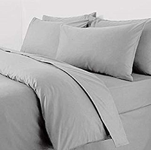 Paire de taies d'oreillers grises en percale très grand format 56 x 79 cm