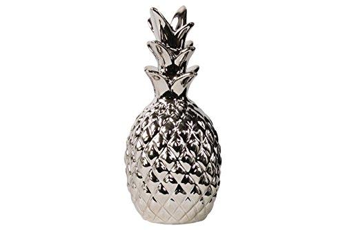 Urban Trends Estatueta de abacaxi de cerâmica, prata cromada polida