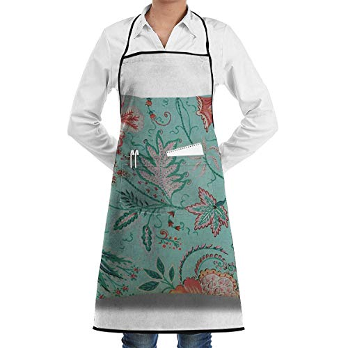 N\A Waterproof Hem Apron with Pocket 52cm 72cm, Unisex Apron Pastel Mint Green Ornate Floral Paisley Ethinc