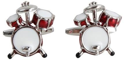 Rot Drum Kit Rhodium Manschettenknöpfe