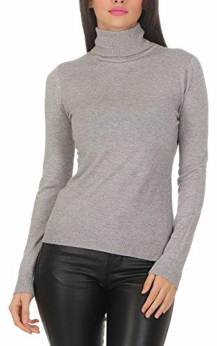 Fashion4Young 10974 Damen Feinstrick-Pullover Pulli Rollkragen Pullover Strickpullover (grau, S/M=34/36)