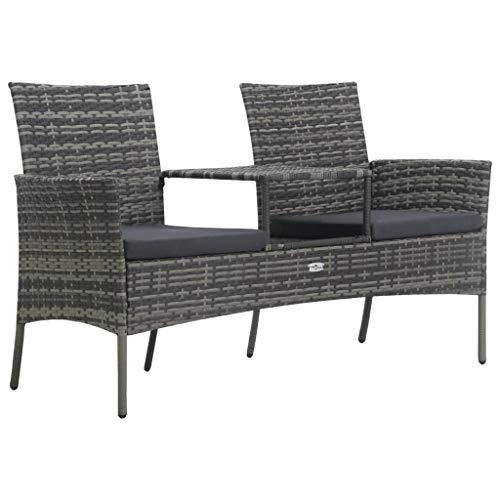 Festnight Tuinbank tweezits met tafeltje poly rattan Eetkamerstoel fauteuil kan worden gebruikt bij receptie thuiskantoor woonkamer slaapkamer eetkamer woonkamer keuken balkon antraciet