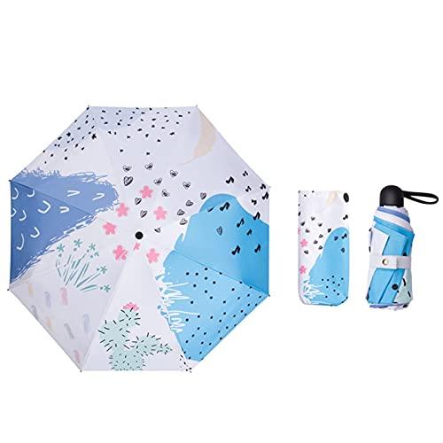 Mini paraguas ligero Paraguas plegables a prueba de viento Ultra Light UV Protección Umbrella compacta robusto Secado rápido, Mujeres Chicas Su compañero de ayuda íntimo en esta temporada