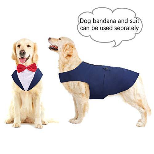 PUMYPOREITY Ropa para Perros Pajarita Esmoquin Traje Smoking Perro Mascota Boda Formal Traje Elegante con Bandana Retirable Camisa de Esmoquin Formal para Perros Pequeños Medianos Grandes(Azul,XXL)