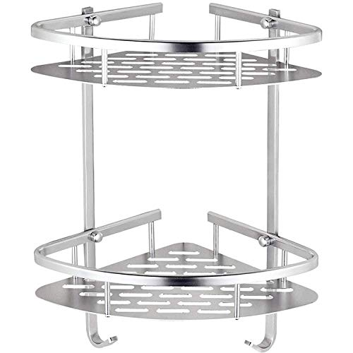 DXX-HR Estantes de baño, estante de pie libre – Soporte para baño con espacio de aluminio triangular cesta de almacenamiento de inodoro colgante tipo Sucker-Type Rack de esquina