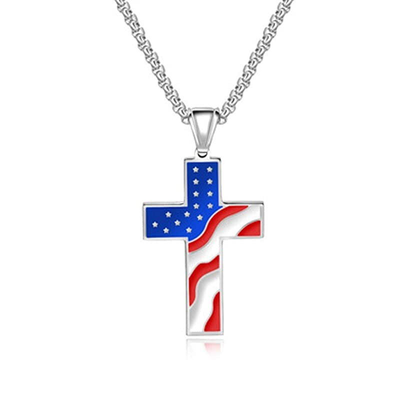American Flag Patriotic Cross Religious Jewelry,Stainless Enamel Pendant Necklace,Color: Silver White